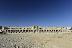 Si-nolla-seh pol, Khajoo bro på solnedgången i Esfahan, Iran September 14, 2016 Royaltyfria Bilder