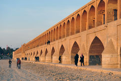 Si-o-se Pol. Bridge over dry river in Isfahan Stock Photography