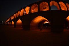 Si-o-seh политик, мост Khajoo на заходе солнца в Esfahan, Иране 14-ое сентября 2016 Стоковое Фото