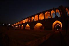 SI-o-seh pôle, pont de Khajoo au coucher du soleil dans Esfahan, Iran 14 septembre 2016 Photos stock