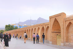 Si-o-seh pol bridge in Isfahan city (Iran) Stock Photography