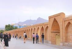 Si-o-seh pol bridge in Isfahan city (Iran) Stock Photography