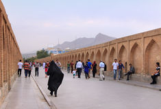 Si-o-seh pol bridge in Isfahan city (Iran) Royalty Free Stock Image