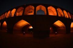 Si-o-seh pol, Khajoo bridge at sunset in Esfahan, Iran. September 14, 2016. Stock Image