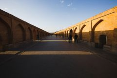 Si-o-Seh Pol., riep ook de Brug van 33 Bogen, Isphahan, Iran Stock Foto's