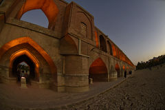Si-O-sehpol-Brücke am Abend, Sonnenuntergang in Esfahan, der Iran Sept.-` 2016 Lizenzfreies Stockbild