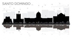 Si preto e branco da skyline de Santo Domingo Dominican Republic City ilustração stock