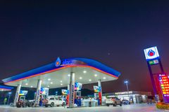 Si Racha, Chonburi /Thailand - April 18, 2018: PTT gas station. PTT Public Company Limited or simply PTT is a Thai state-owned SET-listed oil and gas company stock images