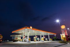 Si Racha, Chonburi /Thailand - April 18, 2018: Shell gas station. Blue sky background during sunset. Royal Dutch Shell sold its Australian Shell retail royalty free stock photography