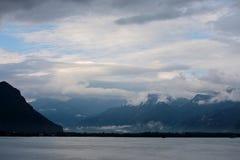 Si rannuvola il lago Lemano in Svizzera Europa Fotografia Stock