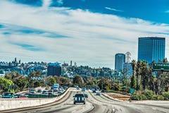Si rannuvola l'autostrada senza pedaggio di Los Angeles 101 Fotografia Stock