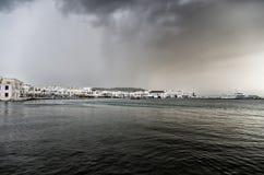 Si rannuvola Mykonos, Grecia Fotografia Stock Libera da Diritti
