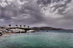 Si rannuvola Mykonos, Grecia Fotografia Stock