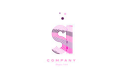 Si s i alphabet letter logo pink purple line icon template vecto Stock Image