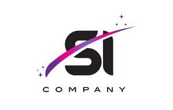SI S I Black Letter Logo Design with Purple Magenta Swoosh Royalty Free Stock Photos