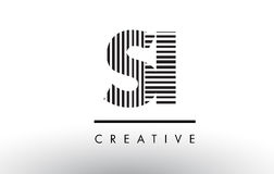 SI S I Black and White Lines Letter Logo Design. Royalty Free Stock Photography