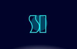 Si s i blue line circle alphabet letter logo icon template vecto Stock Image