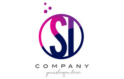 SI S I Circle Letter Logo Design with Purple Dots Bubbles Stock Photos