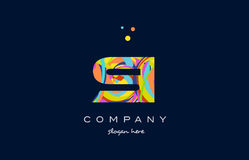 Si s i colorful alphabet letter logo icon template vector Stock Image