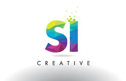 SI S I Colorful Letter Origami Triangles Design Vector. Royalty Free Stock Photography
