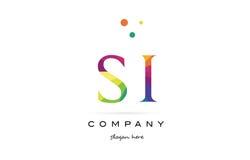 Si s i  creative rainbow colors alphabet letter logo icon Royalty Free Stock Photo