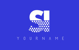 SI S I Dotted Letter Logo Design with Blue Background. Stock Photos