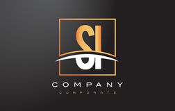 SI S I Golden Letter Logo Design with Gold Square and Swoosh. Royalty Free Stock Photography