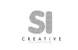 SI S I Letter Logo with Black Dots and Trails. Royalty Free Stock Images
