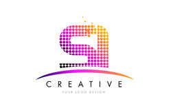 SI S I Letter Logo Design with Magenta Dots and Swoosh Royalty Free Stock Photos