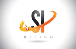 SI S I Letter Logo with Fire Flames Design and Orange Swoosh. Stock Photography