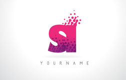 SI S I Letter Logo with Pink Purple Color and Particles Dots Des Royalty Free Stock Photos