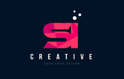 SI S I Letter Logo with Purple Low Poly Pink Triangles Concept Royalty Free Stock Image