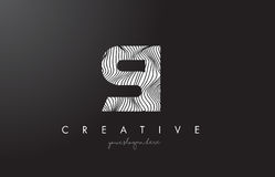 SI S I Letter Logo with Zebra Lines Texture Design Vector. Royalty Free Stock Images