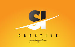 SI S I Letter Modern Logo Design with Yellow Background and Swoo Stock Photos