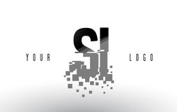SI S I Pixel Letter Logo with Digital Shattered Black Squares Royalty Free Stock Photos