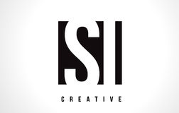 SI S I White Letter Logo Design with Black Square. Royalty Free Stock Images
