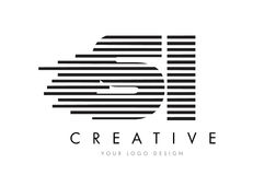 SI S I Zebra Letter Logo Design with Black and White Stripes Royalty Free Stock Photography