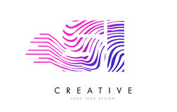 SI S I Zebra Lines Letter Logo Design with Magenta Colors Royalty Free Stock Image
