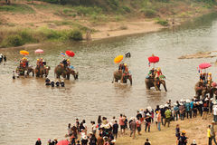 Si Satchanalai Elephant Back Ordination Procession. Stock Photo