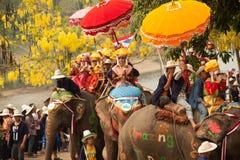 Si Satchanalai Elephant Back Ordination Procession. Royalty Free Stock Image