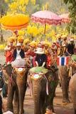 Si Satchanalai Elephant Back Ordination Procession. Royalty Free Stock Photos