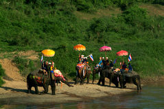 Si Satchanalai Elephant Back Ordination Procession. Royalty Free Stock Images