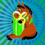 Si siede un cavallo in un panciotto con un regalo Immagini Stock