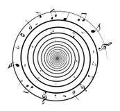 Si sviluppano a spiraleare le note di musica Fotografia Stock