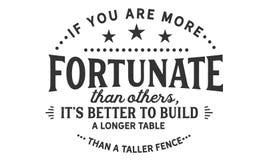 Si usted es más afortunado que otros, él el ` s mejor para construir una tabla más larga que una cerca más alta stock de ilustración