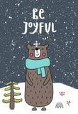 Sia allegro - manifesto dei bambini del nuovo anno con iscrizione disegnata a mano e l'orso sveglio del fumetto Illustrazione di  illustrazione vettoriale