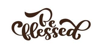 Sia benedetto - iscrizione di ringraziamento ed autunno della decorazione Illustrazione disegnata a mano di calligrafia di vettor royalty illustrazione gratis