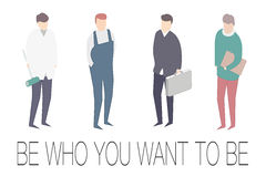 Sia chi volete essere motivatore 4 generi di professioni Immagini Stock
