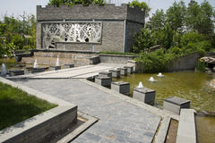 Ásia China, Pequim, expo do jardim, cidade antiga de ŒThe do ¼ do architectureï do jardim, estrada de pedra Fotografia de Stock Royalty Free