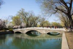 Ásia China, Pequim, o palácio de verão, ponte da pedra do furo de ŒThree do ¼ do sceneryï da mola Fotos de Stock